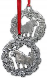 Pewter Moose in Wreath Ornament
