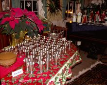 64 Pewter Shrub Cups assembled for a New Years celebration