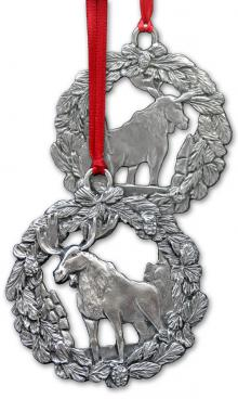 Photo of Moose in Wreath Christmas Pewter Ornament
