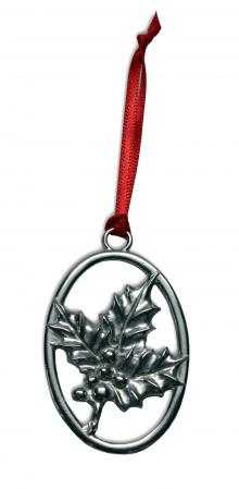 Pewter Holly Ornament