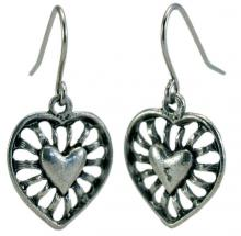 Photo of Large Pewter Heart Earrings