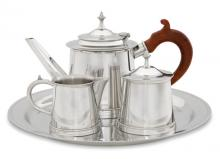Photo of William Will Pewter Tea Service, Rosewood Handle