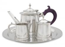 Photo of William Will Pewter Tea Service, Ebony Handle