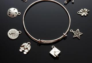 Silver-plated Bangle with charms