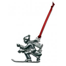 Pewter Skier Ornament