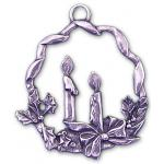 Pewter Candles in Wreath Ornament