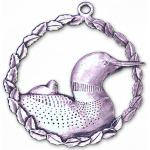 Pewter Loons in Wreath Ornament